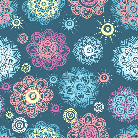 mendie: Vector seamless background with abstract floral elements in indian style. Ornamental pattern