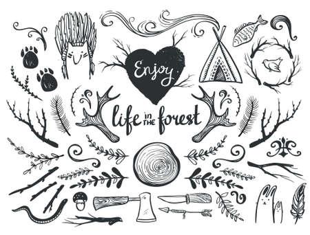 Set van design elementen en illustraties thema rond dieren, kamperen en het leven in het bos. Stock Illustratie