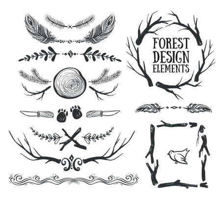 Set van hand getekende tribale frames en verdelers. Forest design.