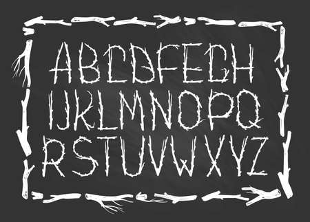 alphabet tree: Chalk Alphabet made of branches of tree isolated on the chalkboard  . Natural tribal font.