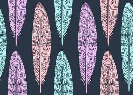 Ethnic seamless pattern with boho Feathers Ilustração