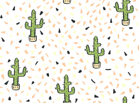 Cactus hand-drawn  seamless pattern. Vector illustration.