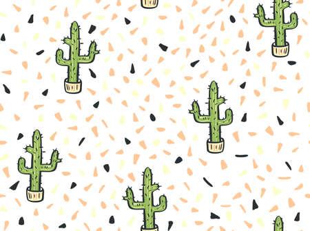 Cactus hand getrokken naadloze patroon. Vector illustratie. Stock Illustratie