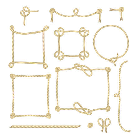 broun: Set of Simple Rope Frames Graphic Designs on white background. Illustration