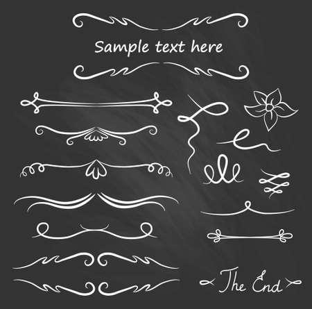 Hand Drawn Vector Flourishes, Accent Text (vector). Chalk set.