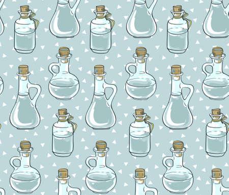 Seamless pattern with bottles. Vector illustration. Illustration