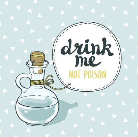 drink me: Drink me jar isolated vector illustration. Bottle with water.
