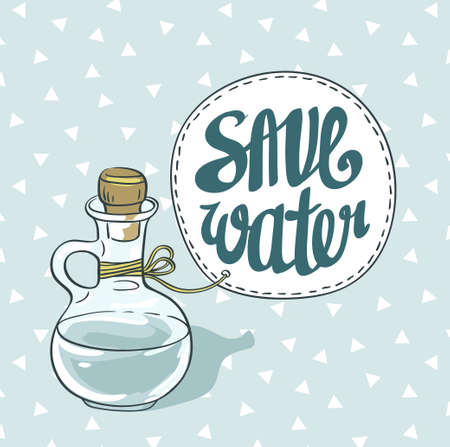 Save water eco card. Vector illustration.