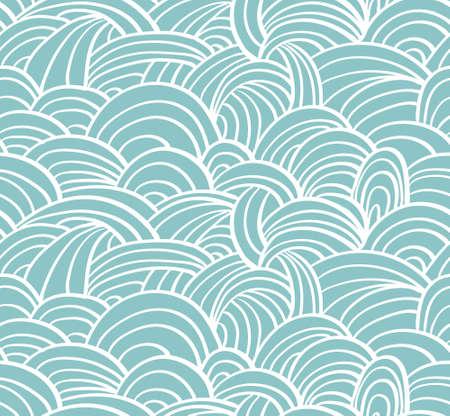 clots: Seamless sea hand-drawn pattern, waves background.