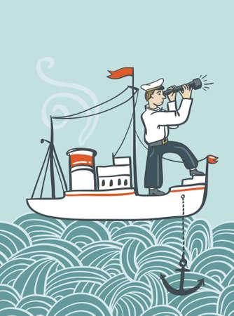 seaman: Vector hand drawn  sea poster with ship, waves and seaman. Creative vintage style illustration.
