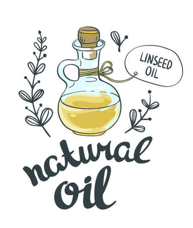 oil crops: Bottle with linseed oil. Vector isolated objects Illustration
