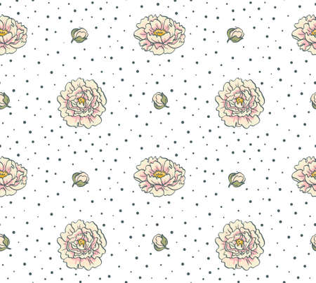 Seamless pattern with flowers. Floral background with peonies