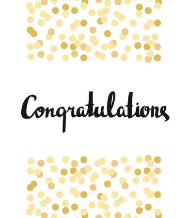 Congratulations Calligraphy. Congratulations Background with gold confetti. Graduation Card Vettoriali