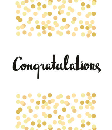 Gefeliciteerd Kalligrafie. Gefeliciteerd Achtergrond met gouden confetti. Kaart van de graduatie
