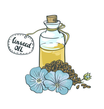 Flax Seeds Oil in a Glass Bottle. Vector Illustration