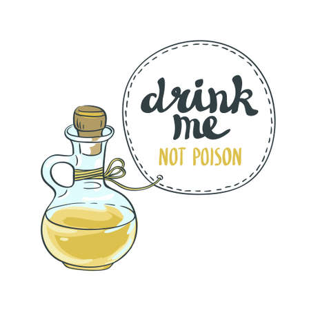 Drink me jar isolated vector illustration. Bottle with water.