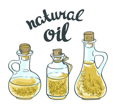 flax seed: Set of bottles with linseed and olive oil. Vector isolated objects. Illustration