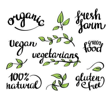 vegetarians: lettering -  organic natural food, vegan and vegetarians menu Illustration