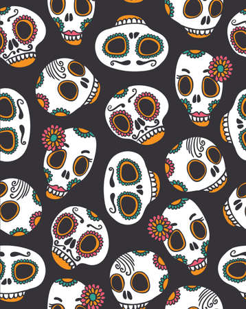 scull: Funny seamless scull pattern for Halloween and day of the dead.