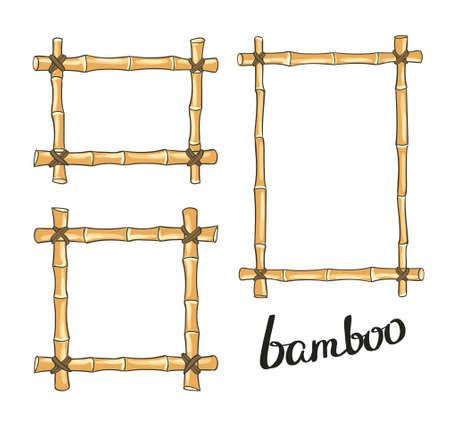 Yellow bamboo frames. illustration.