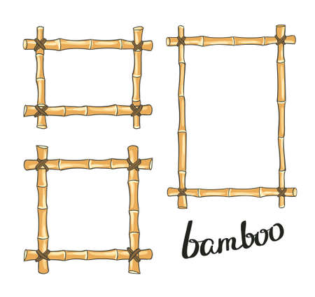 Yellow bamboo frames. illustration.