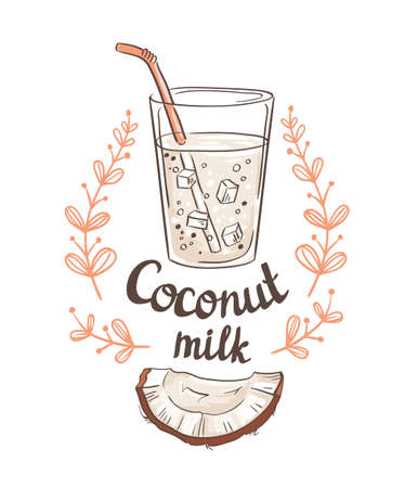 Picture of half a coconut and  Coconut milk.