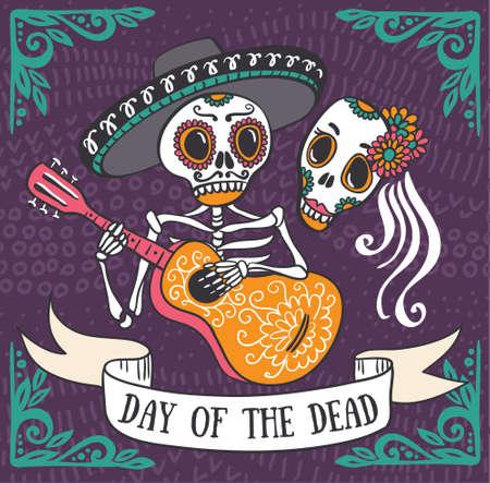 죽은 당일의 초대장 포스터. Dea de los muertos card.