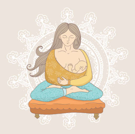 Young woman in cartoon style doing yoga while holding a cute and calm baby boy. Yoga Background.