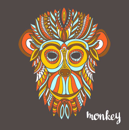 Ornamental monkey, a symbol of New Year 2016, ethnic style, for tattoo, print on a T-shirt, greeting card.