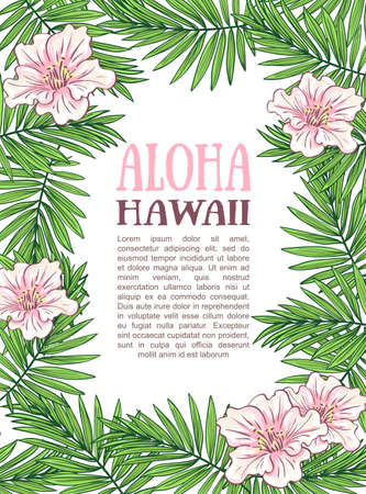 Aloha Hawaii illustration, palm leaves on the white background