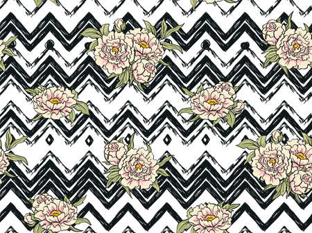 zag: Seamless pattern with flowers on the zig zag background. Floral background with peonies