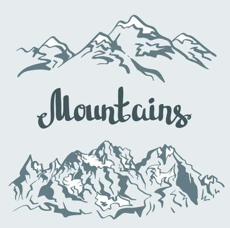 peaks: Vector Himalayan peaks. Hand drawn mountain landscape.