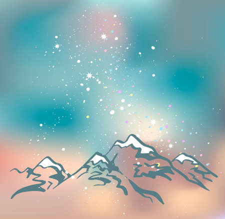 peaks: Milky Way over the Himalayan peaks. Mountains at the night time. Vector space background.