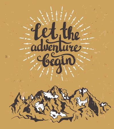 """Vector Vintage-Karte mit Bergen, Sunburst und inspirierende Phrase """"Lassen Sie das Abenteuer beginnen"""". Stylish Hipster Karton Hintergrund. Motivationszitat. Grunge-Effekt ist getrennt."""