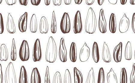 handful: Seamless Sunflowers Seeds Background. Vector illustration.