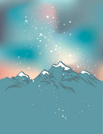 Milky Way over the Himalayan peaks. Mountains at the night time. Vector space background.