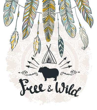 indian happy family: Vector tribal Card with feathers and lettering. Hand drawn illustration.