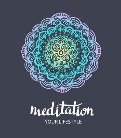 Mandala backgraund. modèle décoratif vecteur. fond dessiné Trance main. Affiche de vecteur avec lettrage élégant « méditation ».