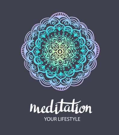 """Mandala backgraund. Vector decorative template. Trance Hand drawn background. Vector poster with stylish lettering """"Meditation""""."""