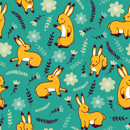 Vector seamless pattern with rabbits and flowers.
