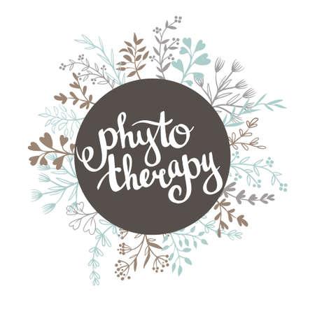 Fytotherapie achtergrond. Stijlvolle letters in het frame. Natuurlijk vectoretiket met bladeren. Stock Illustratie