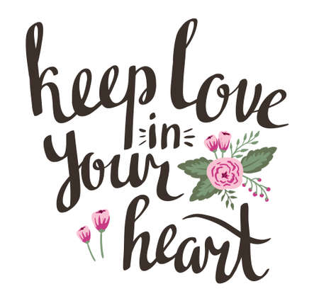 keep in: Valentines Day Card with stylish Love lettering keep love in your heart. Vector illustration. Illustration