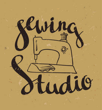 Hand Drawn Typography Poster With Sewing Machine And Stylish Impressive Lettering Sewing Machine