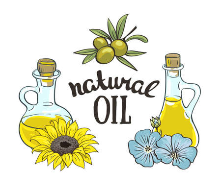 Set of bottles with sunflower, linseed and olive oil. Vector isolated objects.