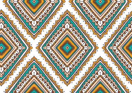 Vector seamless pattern with ethnic tribal ornamental rhombuses. Boho and hippie stylish background. American indian motifs. Illustration