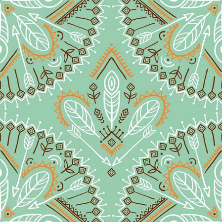 Vector naadloos patroon met etnische pijlen, veren en stammenornamenten. Boho en hippie stijlvolle achtergrond. Indiaanse motieven. Stock Illustratie