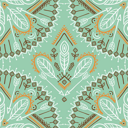 Vector seamless pattern with ethnic arrows, feathers and tribal ornaments. Boho and hippie stylish background. American indian motifs.