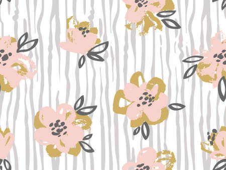 Seamless pattern with pink and gold flowers on the striped seamless pattern with pink and gold flowers on the striped background vector floral background mightylinksfo