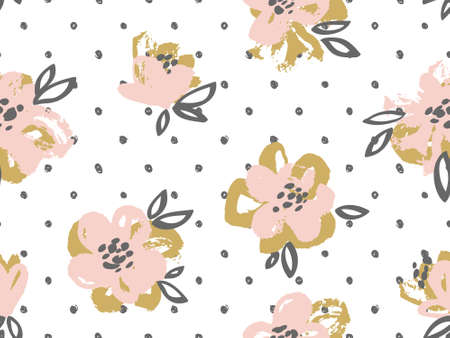 Seamless pattern with pink and gold flowers on the polka dot background. Vector floral background.