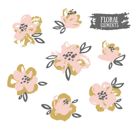 Set of vector stylish grunge pink and gold flowers painted dry ink brush.